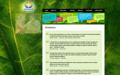 Screenshot of Testimonials Page emamibiotech.com - Join Us   Emami Biotech Ltd. - captured Oct. 2, 2014