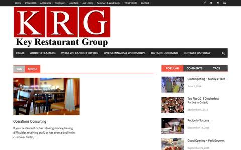Screenshot of Menu Page keyrestaurantgroup.com - Menu | Key Restaurant Group - captured Jan. 9, 2016