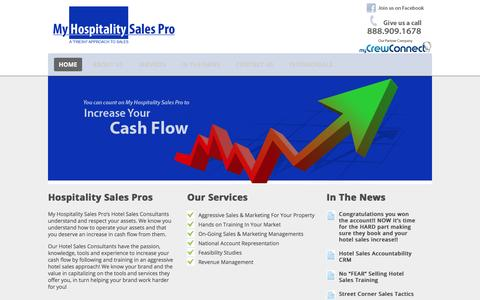 Screenshot of Home Page myhospitalitysalespro.com - My Hospitality Sales Pro   Hotel Sales Consultants to increase your cash flow! - captured Feb. 22, 2016