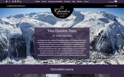 Screenshot of Team Page lechardonvaldisere.com - The Le Chardon chalet team in Val d'Isere, France - captured Jan. 27, 2016