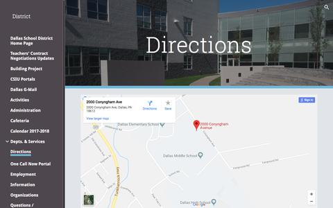 Screenshot of Maps & Directions Page google.com - District - Directions - captured Feb. 25, 2018