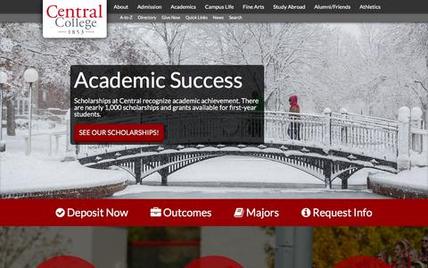 Screenshot of Home Page central.edu - Home - Central College - captured Jan. 26, 2016