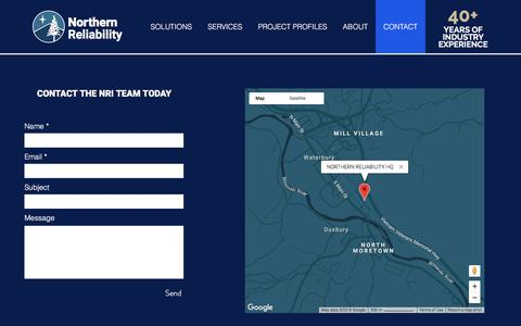 Screenshot of Contact Page northernreliability.com - CONTACT | NORTHERN RELIABILITY - captured Sept. 20, 2018