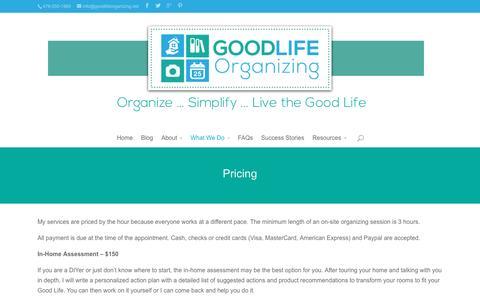 Screenshot of Pricing Page goodlifeorganizing.net - Pricing - Good Life Organizing - captured Dec. 12, 2015