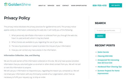 Screenshot of Privacy Page goldenshine.com - Privacy Policy | Golden Shine Cleaning Service - captured Nov. 11, 2016