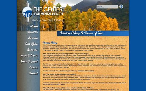 Screenshot of Terms Page centermh.org - Privacy Policy & Terms of Use - The Center for Mental Health - captured Oct. 27, 2014