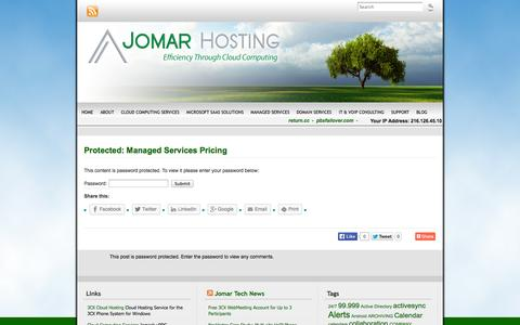 Screenshot of Pricing Page jomarhosting.com - Pricing for Network Monitoring, Offsite Backup and Spam Filtering Services | Jomar Hosting - (888) 99-JOMAR - captured Oct. 6, 2014