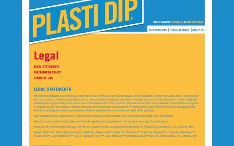 Screenshot of Terms Page plastidip.com - Legal - captured Sept. 12, 2016