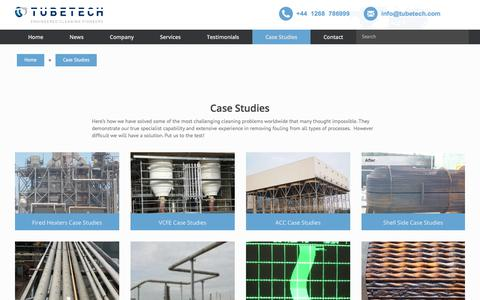 Screenshot of Case Studies Page tubetech.com - Case Studies - Heat Exchanger Cleaning Specialists - captured Oct. 24, 2017
