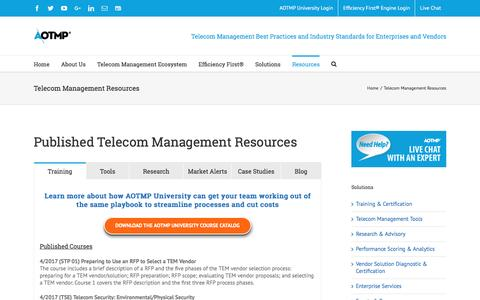 Screenshot of Case Studies Page aotmp.com - Telecom Management Research Resources | Telecom Research | AOTMP - captured May 9, 2017
