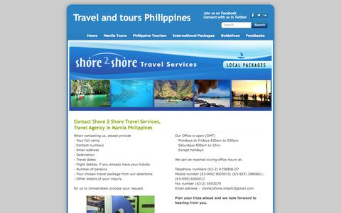 Screenshot of Contact Page shore2shore-travel-services.com - Travel Agency Philippines - Travel and tours Philippines - captured Oct. 26, 2014
