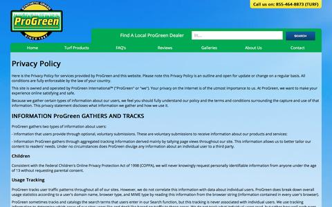 Screenshot of Privacy Page progreen.com - Privacy Policy | Terms & Conditions | ProGreen - captured Feb. 1, 2016