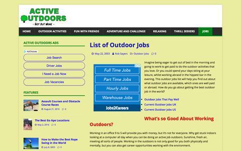 Screenshot of Jobs Page activeoutdoors.info - List of Outdoor Jobs – Active Outdoors - captured July 28, 2018