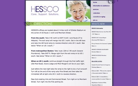 Screenshot of Maps & Directions Page hessco.org - HESSCO Elder Services - captured Oct. 1, 2014