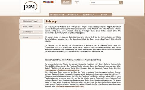 Screenshot of Privacy Page pdmtourismgroup.com - Privacy  |  PDM Tourism Group - captured July 9, 2016