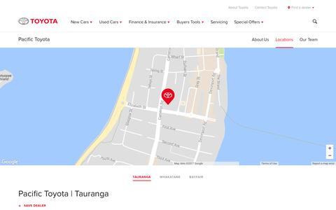 Screenshot of Locations Page toyota.co.nz - Pacific Toyota | Tauranga - Toyota NZ - captured July 12, 2017