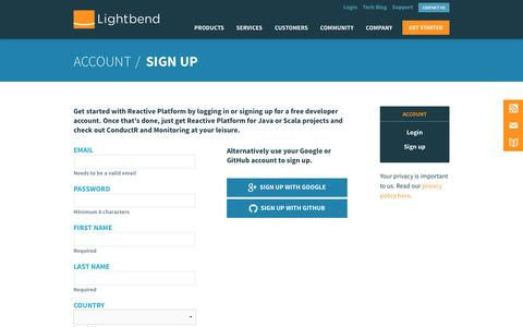 Screenshot of Signup Page lightbend.com - Account | @lightbend - captured March 5, 2016