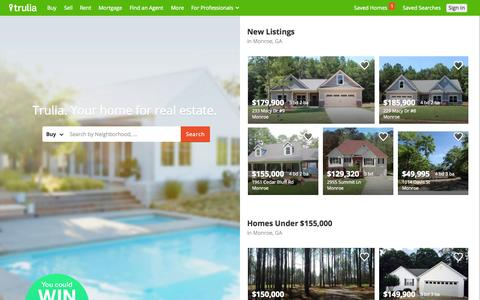 Screenshot of Home Page trulia.com - Trulia: Real Estate Listings, Homes For Sale, Housing Data - captured Sept. 1, 2015