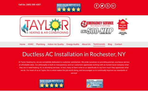 Screenshot of Testimonials Page taylorheating.com - Ductless AC | Rochester, NY | Taylor Heating Inc - captured Oct. 20, 2017