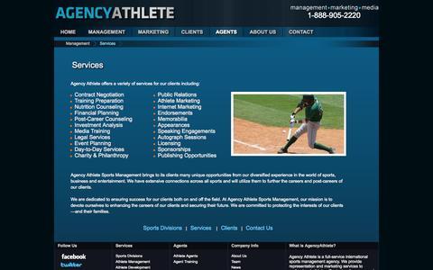 Screenshot of Services Page agencyathlete.com - AgencyAthlete.com - Sports Management Agency - Athlete Representation - captured Sept. 30, 2014