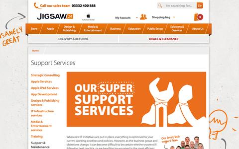 Screenshot of Support Page jigsaw24.com - Support Services  | Jigsaw24 - captured Oct. 28, 2014