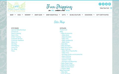 Screenshot of Site Map Page mommycouturedesigns.com - upscale baby boutique, childrens boutique, baby boutique, baby, kids, mommy, gear, essentials, gifts, bling couture - captured June 16, 2017