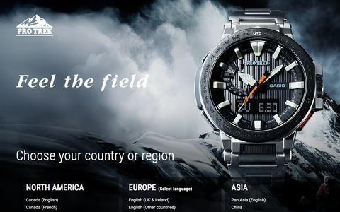Screenshot of Home Page protrek.com - PRO TREK - CASIO - captured April 16, 2016