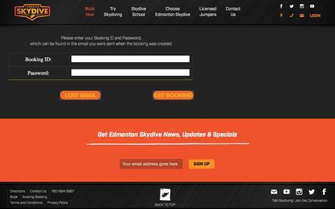 Screenshot of Login Page edmontonskydive.com - Existing Booking   Edmonton Skydive - captured July 11, 2016
