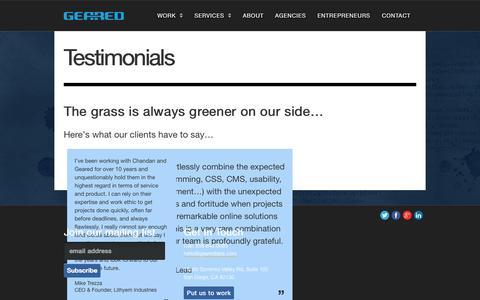 Screenshot of Testimonials Page gearedlabs.com - Client Testimonials | Geared Inc. - captured Oct. 2, 2014