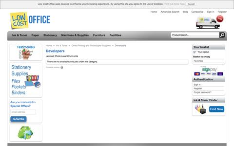 Screenshot of Developers Page lowcostoffice.ie - Developers - Cheap deals from LowCostOffice.ie - captured May 23, 2017