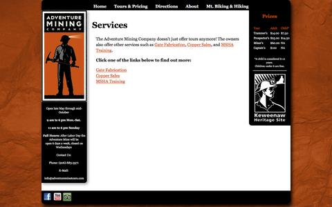 Screenshot of Services Page adventureminetours.com - Services - captured May 20, 2016