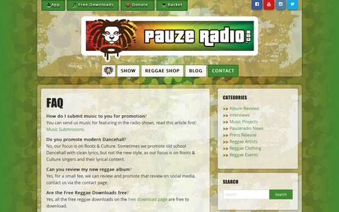Screenshot of FAQ Page pauzeradio.com - FAQ - Pauzeradio - captured Oct. 25, 2016
