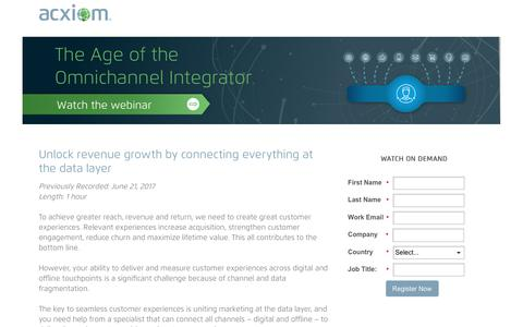 Screenshot of Landing Page acxiom.com - On-Demand Webinar! Introducing Age of the Omnichannel Integrator - captured July 24, 2017