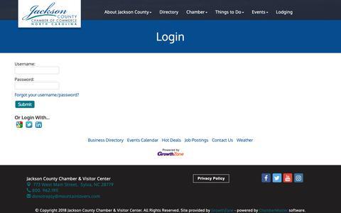 Screenshot of Login Page mountainlovers.com - Login - Jackson County Chamber & Visitor Center, NC - captured Nov. 9, 2018