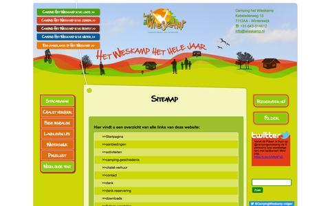 Screenshot of Site Map Page wieskamp.nl - Sitemap Camping het Wieskamp - captured Jan. 22, 2017