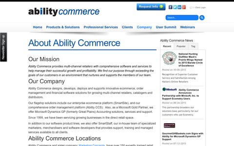 Screenshot of About Page abilitycommerce.com - About Ability Commerce - captured Dec. 23, 2015