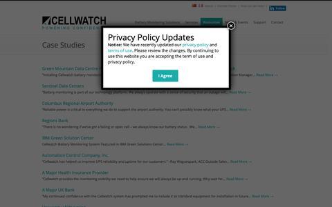 Screenshot of Case Studies Page cellwatch.com - Case Studies - Cellwatch Battery Monitoring - captured Nov. 15, 2018