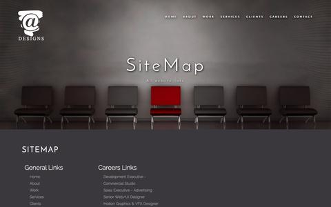 Screenshot of Site Map Page a-designs.net - Site Map - captured Oct. 25, 2017