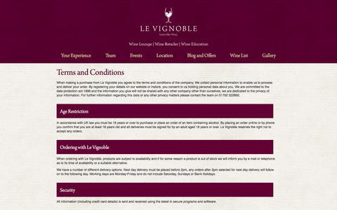 Screenshot of Terms Page levignoble.co.uk - Terms and Conditions | Le Vignoble - captured July 12, 2016