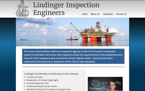 Screenshot of Services Page lindinger-insp.com - Services - captured Nov. 9, 2016