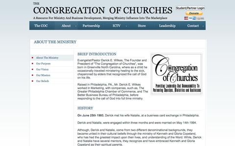 Screenshot of About Page congregationofchurches.org - About - captured Jan. 28, 2016