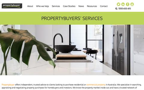 Screenshot of Services Page propertybuyer.com.au - PropertyBuyer Agents Services: Search, Appraise, Negotiate & more - captured July 24, 2018