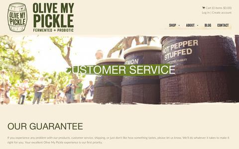 Screenshot of Support Page olivemypickle.com - Customer Service – Olive My Pickle - captured Sept. 20, 2018