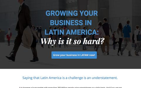 Screenshot of Landing Page revmobmobileadnetwork.com - Grow your app in Latin America - quality traffic from top apps - captured March 17, 2017