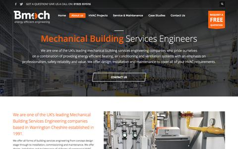 Screenshot of About Page bmech.co.uk - About us - Bmech Ltd are a leading Mechanical & Electrical building services contractor and an official Breezair partner. - captured Nov. 22, 2016