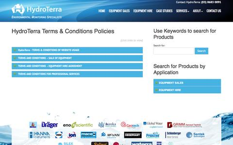 Screenshot of Terms Page hydroterra.com.au - Terms and Conditions - Hydroterra - Environmental Monitoring Specialists - captured Nov. 2, 2014