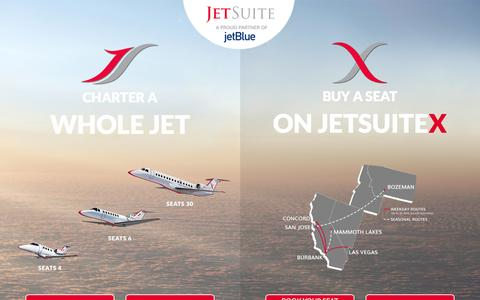 Screenshot of Home Page jetsuite.com - JetSuite | Private Jet Charter Flights – Private Jet Rental Service - captured Dec. 3, 2016