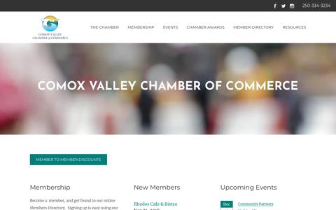 Screenshot of Home Page comoxvalleychamber.com - Comox Valley Chamber of Commerce | Courtenay, BC - Comox Valley Chamber Home - captured Nov. 22, 2018