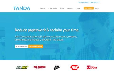 Screenshot of Home Page tanda.co - Time & Attendance Software | Staff Time Tracking | Tanda - captured Sept. 11, 2015