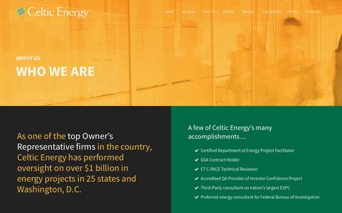 Screenshot of About Page celticenergy.com - Who We Are |  Celtic Energy - captured Jan. 26, 2016